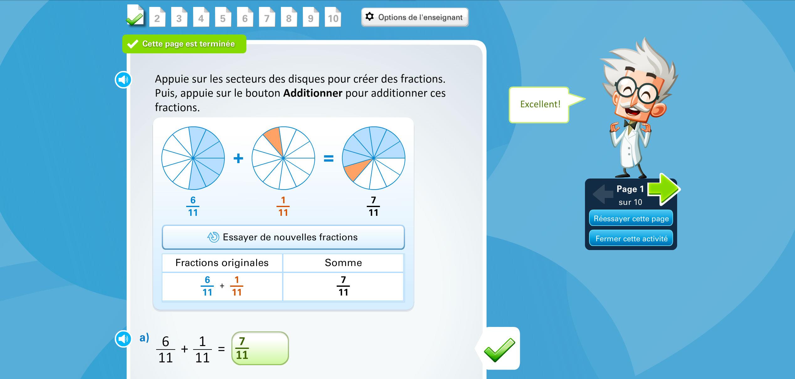 L'activité de la semaine : Additionner des fractions avec un support concret